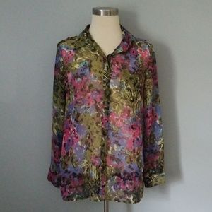 Floral print sheer button down